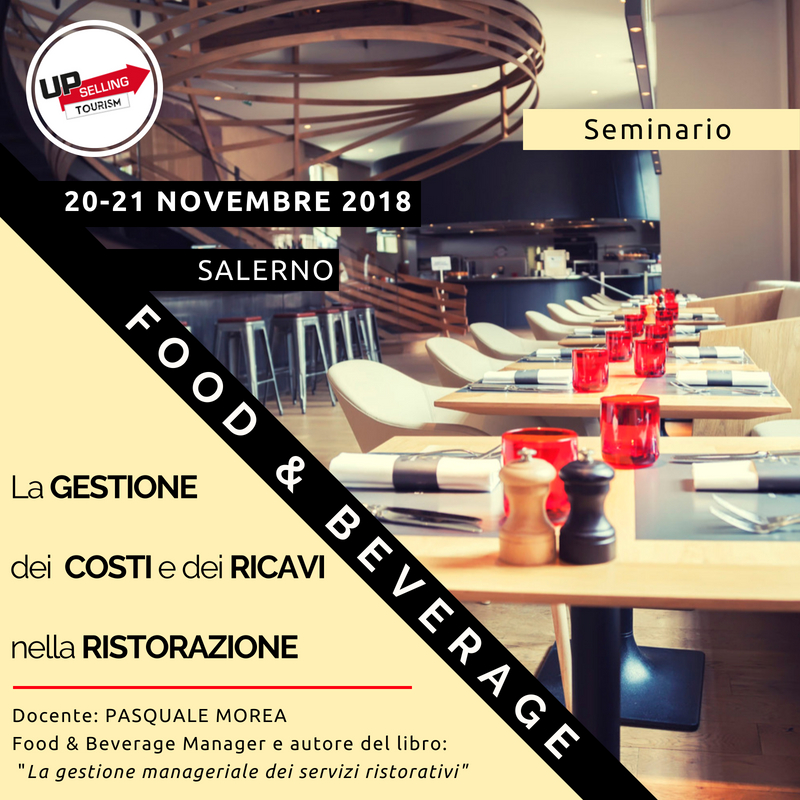 Corso Food and Beverage Management 20 e 21 novembre 2018 a Salerno